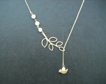 matte yellow gold five leaf branch and bird lariat - 16K yellow gold plated chain