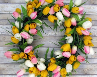 "Spring Tulip Door hanging wreath,  Yellow/Pink/White, 24"""