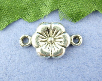 6 10 * 18mm, spacer charm silver plated flower connector
