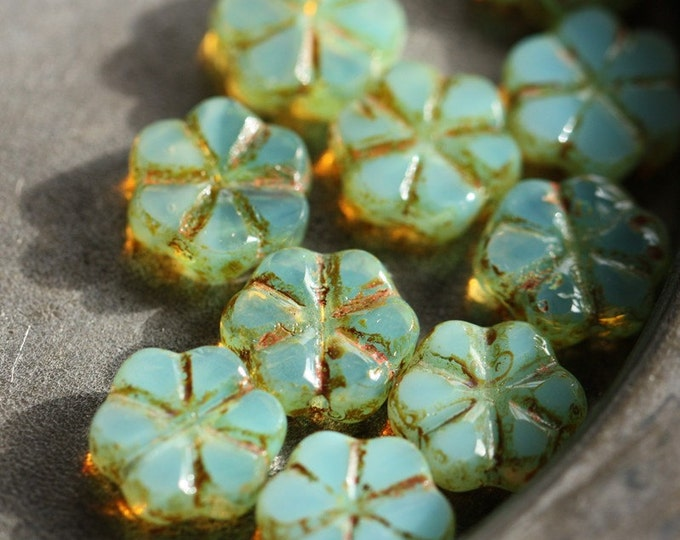 SPRING BLOOMS .. 10 Picasso Czech Flower Glass Beads 10x3mm (4232-10)