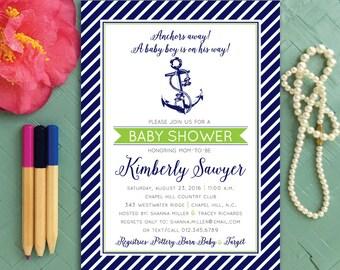 Nautical Baby Shower Invitation, Boy Anchors Away, Ahoy It's a Boy Shower Invitations, Blue Nautical Shower Invitation, Nautical Invitations