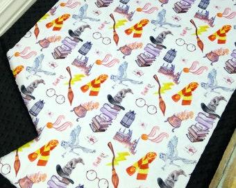 Harry Potter Baby Blanket - Wizard Blanket - Wizard Baby Blanket - Wizard in Watercolor - Minky Blanket - Designer Minky - Magic - Magical