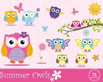 """Owl Clipart - """"CUTE OWLS CLIPART"""", Summer Owls Clipart,Flower Butterfly Clipart, Spring Owls Clipart,Digital Owls Clipart Scrapbooking"""