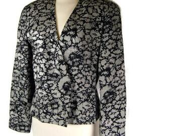 Vintage Floral Blazer Bergdorf Goodman On The Plaza New York Helen Hsu 1970s Jacket