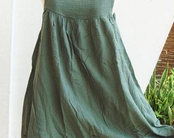 D17, Easy Going Spring Jade Green Cotton Dress, green dress