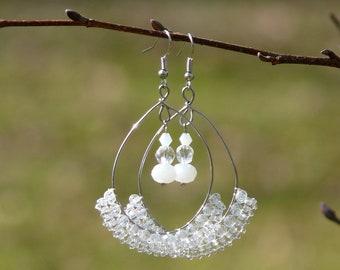 White lace earrings, Bead lace earrings, Bridal earrings, Wedding earrings, White hoop earrings, Big chandelier earrings