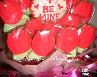 Rosebud Valentine's Day Cookie Bouquet - 13 Cookies
