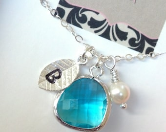 Silver,Blue Zircon/Teal, Swarovski Pearl Personalized Initial Necklace for Bridesmaid/New Mom