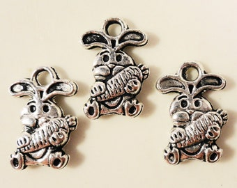 Silver Bunny Charms 14x8mm Antique Silver Tone Metal Rabbit Easter Bunny Animal Double Sided Charm Pendant Jewelry Findings 10pcs