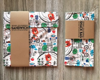 Reusable Snack bags // Reusable Sandwich bag// Zero Waste // busy bear