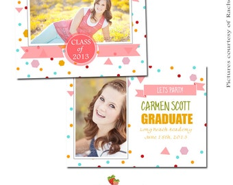 INSTANT DOWNLOAD 5x7 Graduation Announcement Card Template - CA090