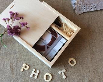 "Wooden photo box / 4"" x 6"" prints box / wood box for photos and usb flash drive / wedding photo box"