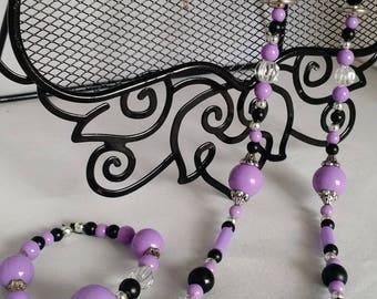 3pc Purple & Black Beaded Set