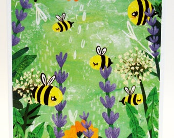 Bright Bees Card - Bumblebee Notecard - Illustrated Bee Card