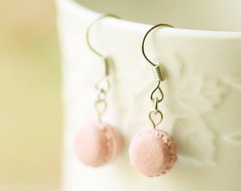 Miniature Food Jewelry - Soft Pink French Macaron Earrings - Gift For Her