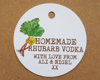 10x Personalised Homemade Rhubarb vodka tags, handmade tags, bottle tags, homemade rhubarb gin tags, wedding favours, homemade vodka tags