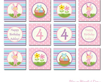 PRINTABLE Girl Easter Bunny Party Circles (Character of your choice) #412