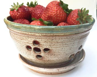 Berry Bowl - Personal Berry Bowl Ceramic Berry Bowl Set - Strainer -Bowl  in Cream with colored rim  and Catch Plate IN Stock Ready to Ship