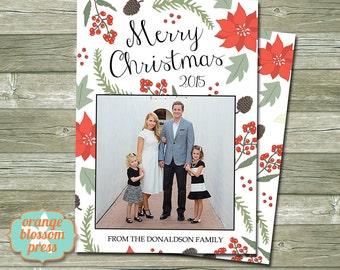 Photo christmas holiday card rustic christmas barn wood photo christmas holiday card personalized christmas card poinsettia holly branches christmas m4hsunfo Choice Image