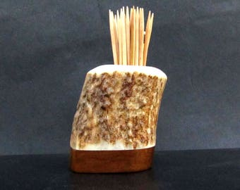 Nice Elk Antler Toothpick Holder, Match Stick Holder, Imbuia Wood Base, TP-39
