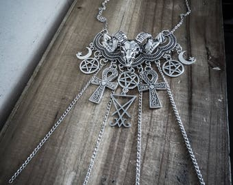 Silver chains necklace Wicca Board Sigil 666 Baphomet 666