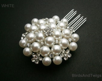 Bridal Pearl Comb Vintage Weddings White Pearls And Crystal Flower Brooch Comb SALE