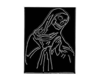 Prayers Pin. Praying Skull Skeleton Enamel Pin. Prayer Hands Lapel.
