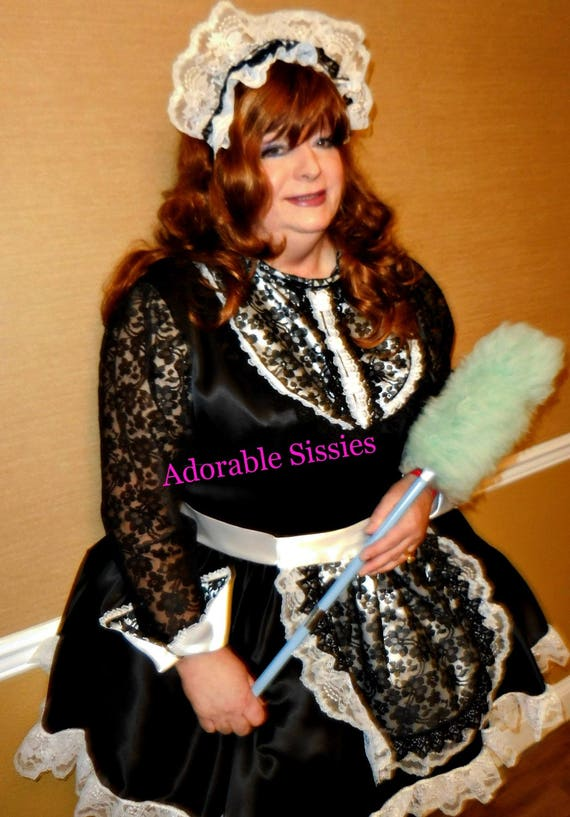 Custom Made Sissy Maid Dress In Bridal Satin With B W Apron