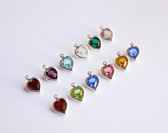 Add On/ Upgrade ONE Heart Shaped Birthstone Crystal - for use with an I HEART This charm or initial necklace