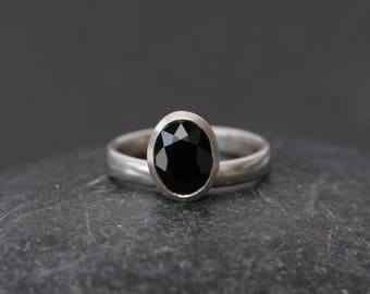Black Spinel Solitaire Ring - Black Spinel Engagement Ring - Black Gemstone Ring - Oval Black Spinel Ring - Made to Order - FREE SHIPPING