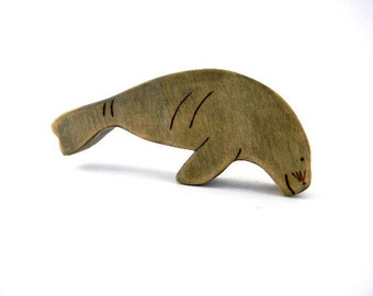 wooden toys,  manatee figurine, manatee wooden toy, waldorf toys, wooden waldorf