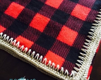 Buffalo Plaid fleece blanket with gold edging (ready to ship!)
