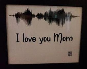 Framed sound wave - I love you Mom - with QR sound file