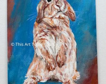 Rabbit painting on canvas panel,  Original Acrylic Rabbit art