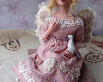 Art doll angel, OOAK doll fairy, artist handmade shabby posable doll, home accent, valentines day gifts, luxury home decor, pink
