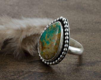 Turquoise Ring. Teardrop Ring. Turquoise Gemstone Ring. Royston Turquoise. December Birthstone. BirthstoneJewelry.