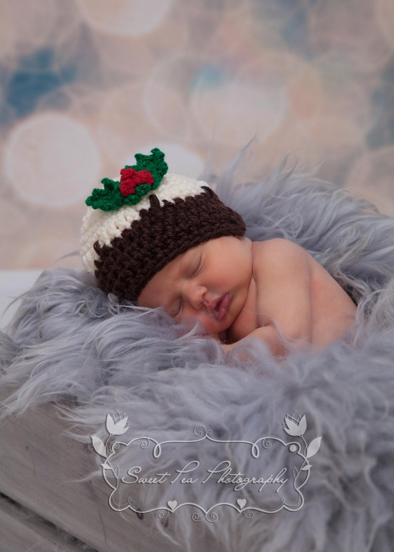 Crochet Christmas Pudding Hat Holly And Berries Trim