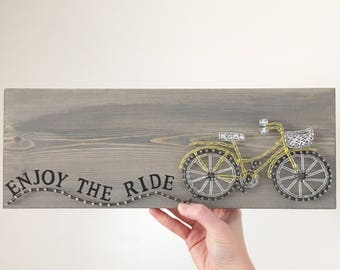 String Art Bicycle, Bicycle Art, Cycling Wall Decor, Gift for cyclists, Bicycle Sign, Bike Art, Enjoy the ride, Unique Cycling Gift