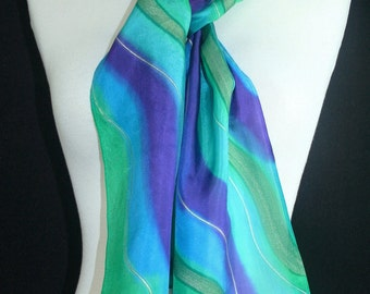 Teal Silk Scarf Turquoise, Purple Hand Painted Silk Shawl.  Handmade Silk Scarf DREAMY HORIZONS.  8x54. Birthday, Mother Gift. Gift-Wrapped.