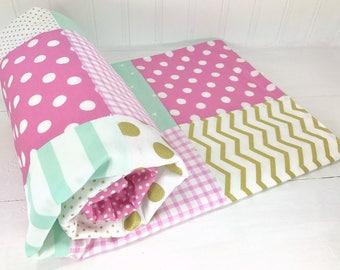 Baby Blanket, Nursery Decor, Minky Baby Blanket, Baby Shower Gift, Baby Quilt, Mint, Gold, Lavender, Purple, Pink, White, Baby Girl, Boho