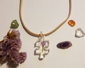 Statice Flower Pendant Necklace