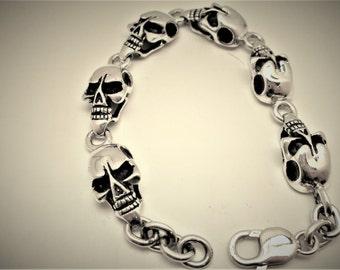 Sterling zilveren schedel armband