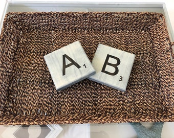"""5 1/2"""" White Washed Scrabble Tiles"""