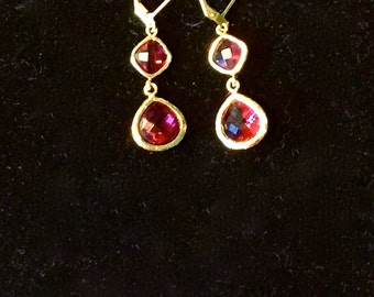 Pink Crystal & Gold Drop Earrings