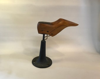 Wood Shoe Form on Cast Iron Stand, Cobbler's