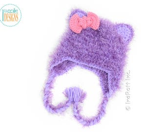 Purple Kitty Cat Hat With Pink Bow READY to SHIP for Preschool Size