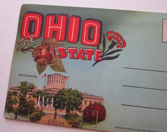 SALE - antique OHIO STATE souvenir postcard folder - circa 1940s - linen, big letter - pc112