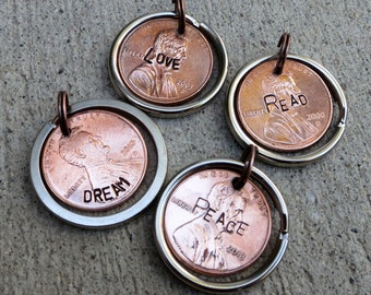 One word penny - Read, Dream, Love, etc.  - Hand Stamped Penny with custom word, phrase or name