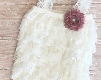 Ivory romper, ivory jumper, ivory and mauve, lace romper, mauve lace, romper and headband, lace petti romper, Ivory and mauve, photo prop