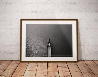 black and white print , sailboat print ,  instant download , art landscape modern , boat print art decor